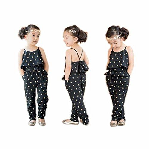 GoodLock Children Kids Fashion Rompers Girls Love Heart Straps Rompers Jumpsuits Piece Pants Clothing (Size:4T) Black