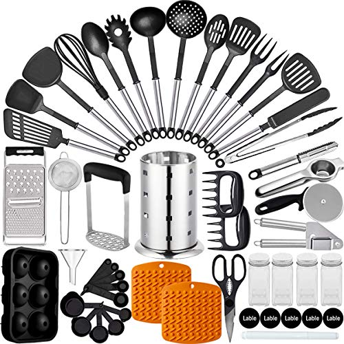 Artcome - Juego de utensilios de cocina de nailon y acero inoxidable con soporte para espátula, cuchara, pinzas para batir, batidor y utensilios de cocina, accesorios de cocina