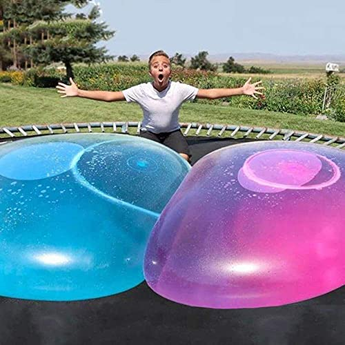 Large Water Bubble Ball Balloon Inflatable Water-Filled Ball Soft Rubber Ball for Outdoor Beach Pool Party Large (Yellow/Blue)