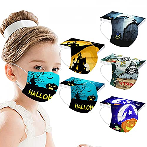 Halloween Kids Face_Mask Disposable 3 Ply Face Protective Printed Masks Breathable Child Face Scarfs Boys Girls 50PC