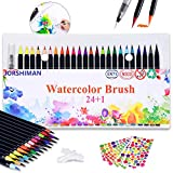 JORSHIMAN Rotuladores Punta Pincel, Rotuladores Pincel, Watercolor Brush Pen, Set de 24 Rotuladores Acuarelables y 1 Pincel de Agua - Punta Suave, No toxica, Reciclable