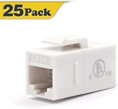 VCE 25-Pack UTP CAT6 Keystone Coupler,RJ45 Female to Female Insert Coupler, UTP CAT6 Keystone Inline Coupler UL Listed
