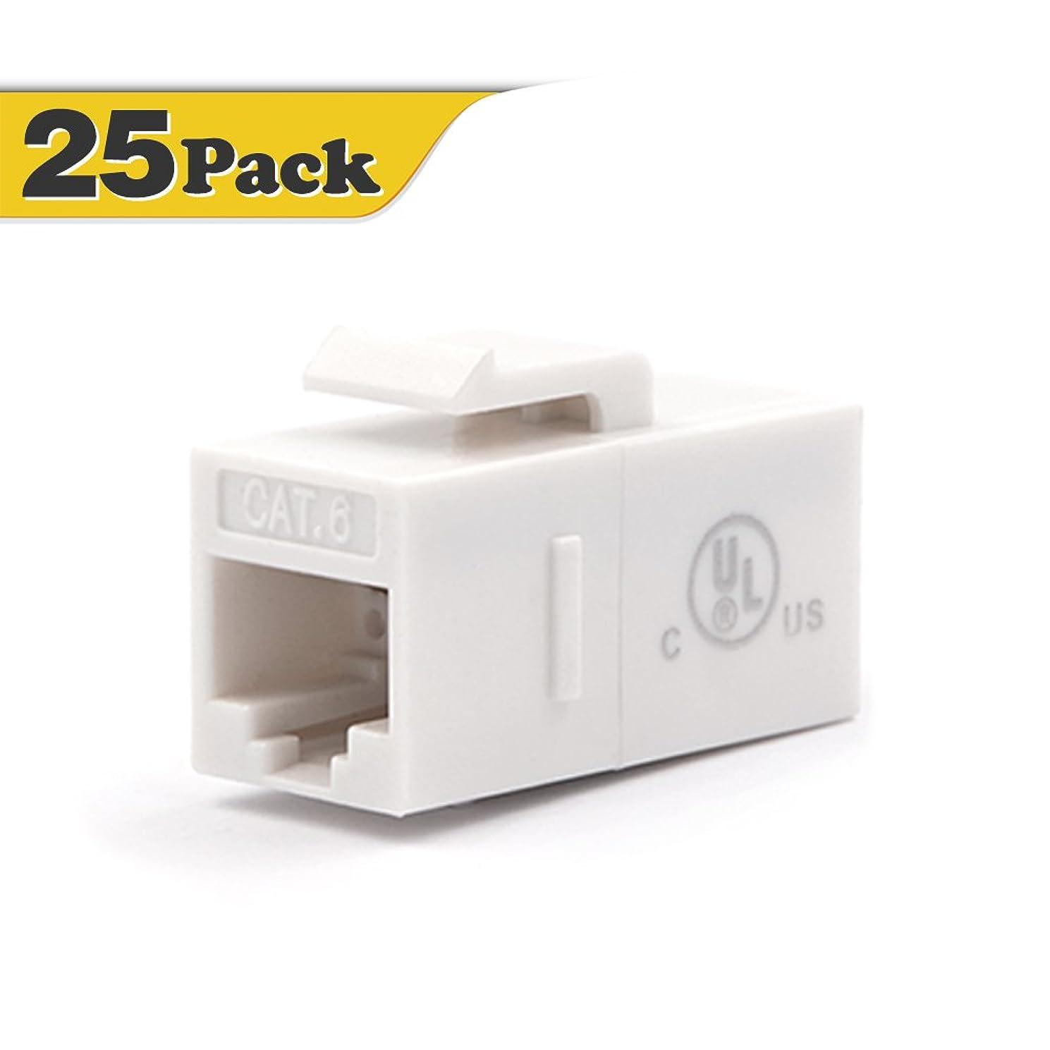 [UL Listed] VCE (25-Pack) UTP CAT6 Keystone Coupler,RJ45 Female to Female Insert Coupler, UTP CAT6 Keystone Inline Coupler