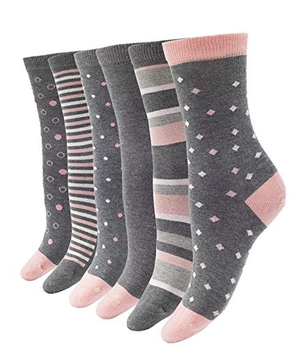 1SOCK2SOCK Women's Bamboo Thin Crew Socks 6 Pack Colorful Patterns Super Soft Fashion Casual Socks