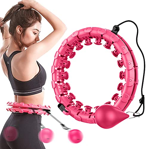 GoHoKi Smart Fitness Hula-Hoop-Reifen Erwachsene mit Schwerkraftball, 24 Artikulierte Hullahub Reifen zum Abnehmen mit Massagenoppen für Kinder Anfänger zur Bauchformung Zuhause Büro (Rosa)