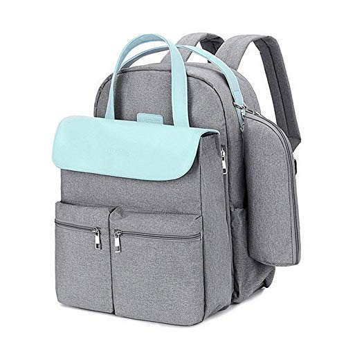 Etyybb Diaper Bag Backpack for Mom Detachable nappy bag for couples Large Capacity Maternity Bag with USB Charging Port Insulated Pockets-azul_L