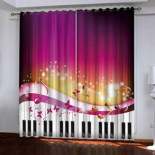 Empty verduisteringsgordijnen ondoorzichtig piano raamscherm natuurlandschap 2 stuks x 117 cm breedte x 138 cm hoogte