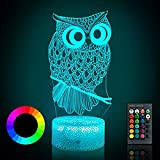 YDY Dinosaur Toys - Dinosaur Gifts for Boy | 3D Night Light with Remote & Smart Touch 16 Colors Changing, T- Rex Toys Birthday Halloween Christmas for Age 3 4 5 6 7 8 9+ Year Old Boy Gifts (Owl)