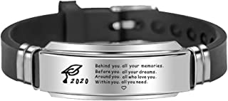 KOORASY Graduation Gifts for Him 2020 Inspirational Gifts Bracelet College High School Graduation Gifts for Class of 2020 Graduates Students Son Brother Boyfriend Silicone Bangle Bracelet for Men