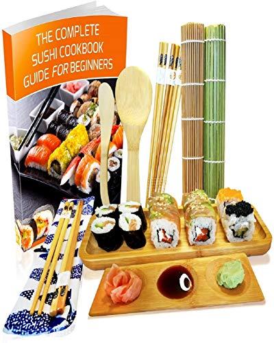 Kit para Hacer Sushi - Esterilla de Enrollar Sushi de Bambú Set de 11 Piezas - 2 Esteras, 5 Pares de Palillos con Bolsita, Paleta, Cuchillo para Extender, Plato de Servir, Plato de Salsa y eBook