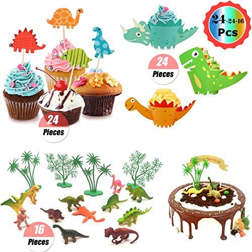 Paquete Dinosaur Cupcake Wrapper: el paquete contiene 24 piezas de envoltorios de cupcakes Dino, 24 piezas de adornos de pastel Dino, 16 piezas de decoraciones de adornos de pastel de cumpleaños. Ensamblaje: Fácil y conveniente ensamblar estos forros...