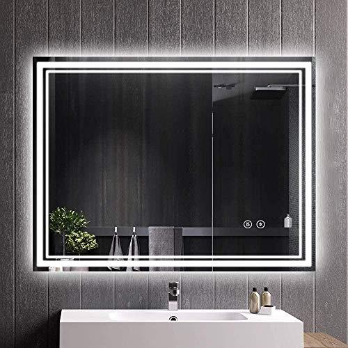 HFFFHA Espejos de baño 600 x 800 mm Iluminado con retroiluminación LED Sin Marco Espejo de baño Luz Maquillaje Espejo Sensor Control táctil