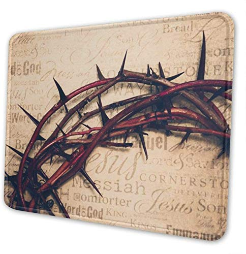 CUKENG Crown of Thorns Mouse Pad with Stitched Edge, Personality Desings Gaming Mouse Pad Mat, Multiple Size Personalized Crown of Thorns Mouse Pad Customized Rectangle Non-Slip Rubber