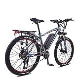 LYRWISHLY ANCHEER 26' Bicicleta eléctrica de montaña for Adultos, 350W E-Bici con 36V 13Ah Litio-Ion for Adultos, Profesional 27Speed Transmisión Engranajes (Color : Blue)