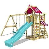 WICKEY Parco giochi in legno VanillaFlyer Giochi da giardino con altalena e scivolo turchese, Torre d'arrampicata da esterno con sabbiera e scala di risalita per bambini