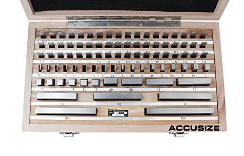 Accusize Tools - 87 pc Metric Gage Block Set, Grade 2, DIN861 Germany Standard with MFG's Certificate, 0087-2160