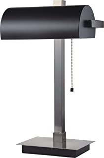 SH Lighting 31187SN-BK Banker Style Lamp with Pull Switch, Silver/Black