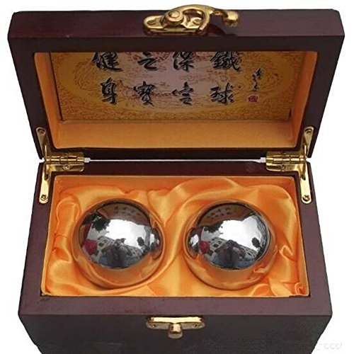 Colormax Baoding Bolas chinas Salud Ejercicio–Bolas de Estrés Acero Cromo Color/tradicional Beautiful Palm Messager -- Un Práctico Instrumento para cuidado de la salud