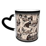 Oaieltj Tazas cambiantes de calor divertidas de avestruces amigos personalizados sensibles al calor cambiante mágico taza de café de cerámica taza de té de leche