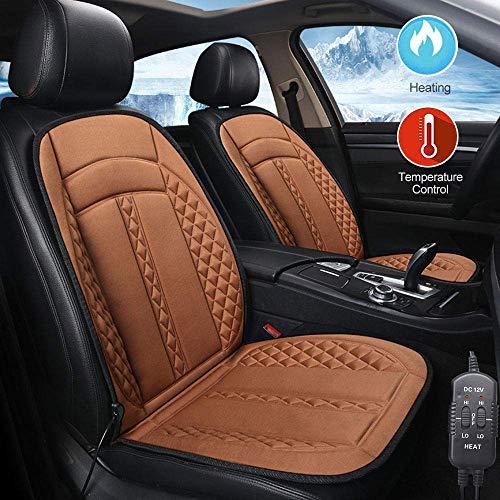 HYM CojíN De Asiento De AutomóVil Calentado De 12V, CojíN De Asiento Caliente De Invierno con Temperatura Ajustable, DiseñO De Tela Inferior Suave,brown-twoseat12V