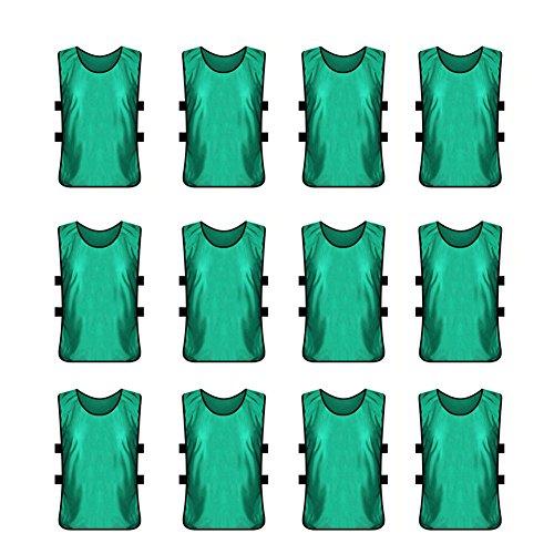 TopTie Pinnies Scrimmage Westen (12 Stück) – perfekt als Basketballtrikot, Fußballtrikot Kindergröße Wald