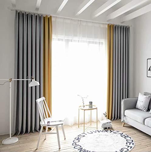 LJWLZFVYJ Nordic Vorhang Schatten Zimmer Verdunkelungsnähte Baumwolle und Leinen Seidenvorhänge 100% Polyester Schlafzimmer Wohnzimmer Vorhänge / 2 Platten /145x255cm (B x H) grau gelb