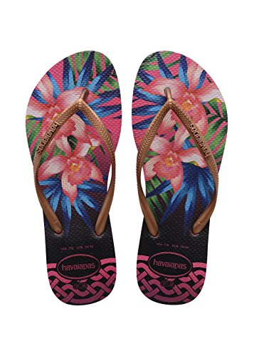 Havaianas Havaianas Damen Slim Tropical Zehentrenner, Mehrfarbig (Rose 0046), 35/36 EU