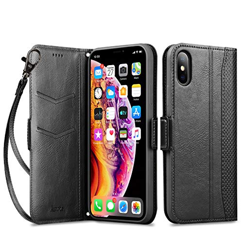 """Aunote iPhone X Case, iPhone 10 Leather Wallet Case, Dropproof Case, Flip Folio Wallet Case with Kickstand Function, Card Slots,Magnetic Closur for iPhone X 5.8"""" - Black"""