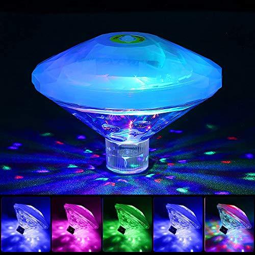 Sinvitron Teichlichter, RGB-Unterwasserlichter, Disco-Partylichter, mehrfarbige Poollichter mit 7 Beleuchtungsmodi für Springbrunnen-Poolbars usw, LED-Spa-Licht-Schwimmbadlampe … B08889BK4M