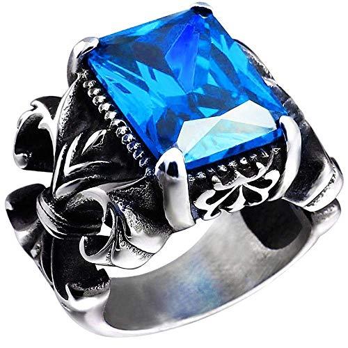 JIANLISP Anillo de época gótica Azul cristalina de Acero Inoxidable Dragon Claw Knight Cruz de la Flor de los Hombres