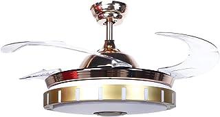 Ventilador de techo moderno con luz LED y control remoto, Ventilador de techo interior de atenuación de 3 colores con función de reproducción de música Bluetooth, 42 pulgadas, AC100-240V