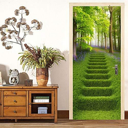 NSDX Türtapete Selbstklebend 3D Wandtür Aufkleber Waldgrün Treppen Landschaft Tapete Wohnzimmer Esszimmer Vinyl Tür Aufkleber Selbstklebende Wandpaste