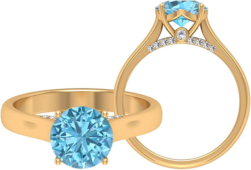 8MM Aquamarine Quality inspection Solitaire Engagement San Francisco Mall D-VSSI Moissanite Ring Gold