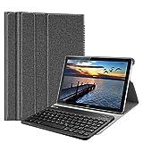Fintie Bluetooth QWERTZ Tastatur Hülle für Huawei Mediapad M5 10.8/10.8 Pro - Ständer Schutzhülle mit Magnetisch Abnehmbarer Drahtloser Deutscher Bluetooth Tastatur,Jeansoptik dunkelgrau