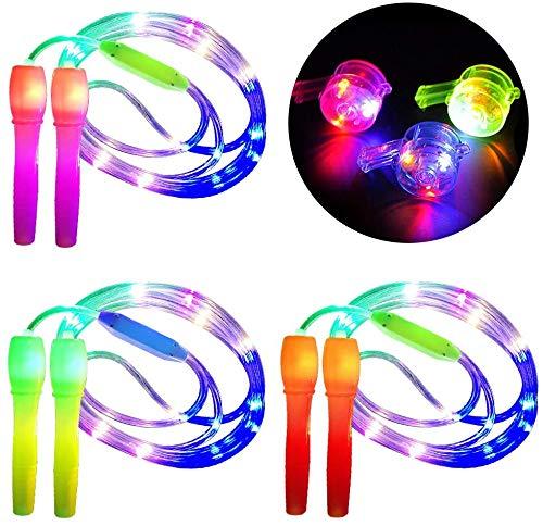 YOMI 3-teiliges Springseil für Kinder, 2-in-1-Fitness-Springseil, leuchtet im Dunkeln, blinkendes Geschenk für Kinder, Erwachsene, Party, fit