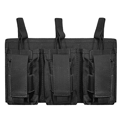 VIIDOO Molle Pistol Mag Pouch, Open-Top Double Triple Magazine Holster Rifle Mags Holder Carrier for AR-15 M4 M14 M16 G36 HK416(Black) -  Mag-01-BLACK