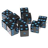 MagiDeal 10 Piezas / Set Dados de Plástico D6 Lados Dado Punteados para D u0026 D RPG Juguete - Azul Negro