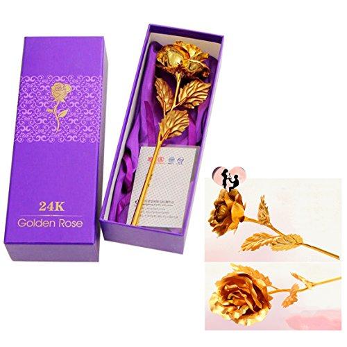 Gearmax Rosa de Oro 24 K Chapado Rosa Flor Mejor Regalo para el día de San Valentín Día de la Madre Navidad Cumpleaños (Dorado )