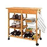 SoBuy FKW06-N Servierwagen Küchenwagen Rollwagen mit Schublade aus hochwertigem Bambus BHT: 72x75x37cm