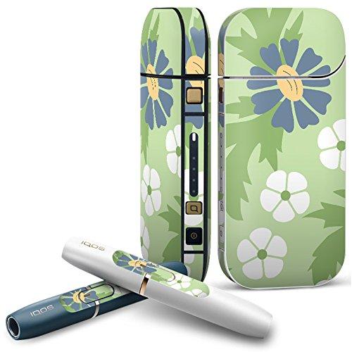 IQOS 2.4 plus 専用スキンシール COMPLETE アイコス 全面セット サイド ボタン デコ フラワー 花 フラワー 緑 004254