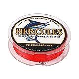 ヘラクレス(HERCULES) PEライン 釣りライン 4本編み 色落ちない 釣り糸 高飛距離 真円近似 充実なタイプ 高強度 高感度 PE釣糸 - レッド 1号 (6.8kg/15lb 0.16mm)