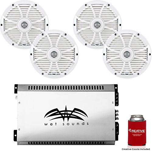 Best Buy! Wet Sounds 8 White Marine System: Two Pairs of SW-808-W 8 Speakers & SYN2 700 Watt Ampli...