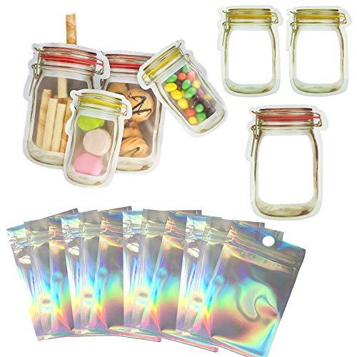 LifeUp Geruchssichere Taschen 10 x 15 cm Holographische Tasche und Jar Bottles Bags Set Wiederverwendbare Cookie Food Saver Aufbewahrungsbeutel Lipgloss-Verpackungstasche