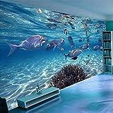 Fotomurales,Personalizado Gran Mural Fondo De Pantalla 3D Pintado A Mano Submarino Mundo Azul Océano Pesca Sin Costuras Pintura Niños Dormitorio Decoración De Pared, 250 Cm (H) ×360 Cm (W)