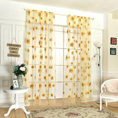 kexinda Tür-Fenster-Sheer Sonnenblume-Blumen Drape-Panel Balkon Vorhang Schal Volants