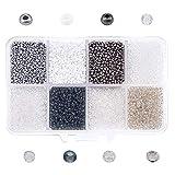 nbeads Perles de rocaille en Verre, 8 Couleurs 160g / boîte Ronde Perles d'espacement pour la Conception de Bijoux Collier Bracelet Fabrication de Boucles d'oreilles