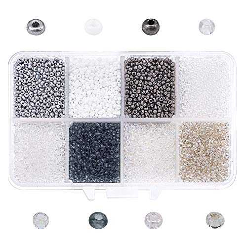 NBEADS Abalorios de la Semilla de Cristal, 8 Colores 160g Ronda Telar Espaciadores Granos de Semillas para Joyería Diseño DIY Collar Pulsera Pendiente Fabricación