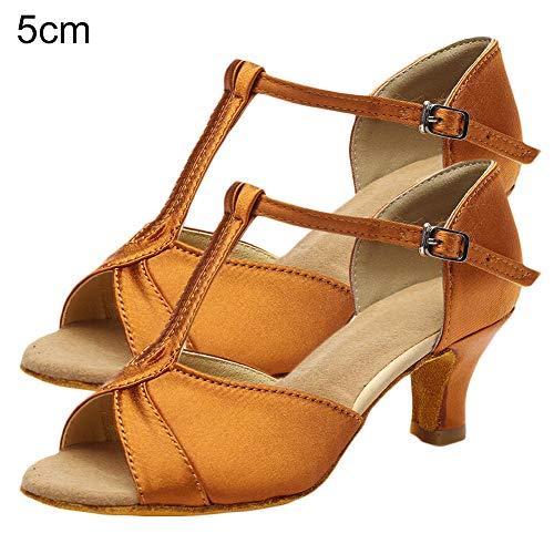 N/ karuixians Zapatos De Baile, Mujeres Adultas, Cuero Sintético, Tacón Bajo, Lentejuelas Suaves, Zapatos De Baile Latino, Sandalias marrón 5cm