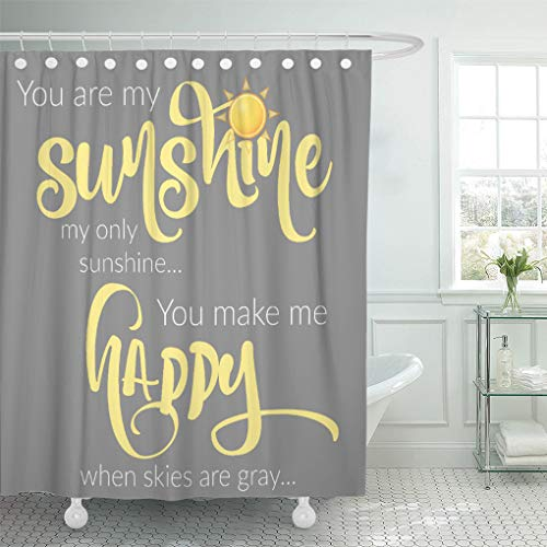 Semtomn Shower Curtain You are My Sunshine Yellow on Gray...