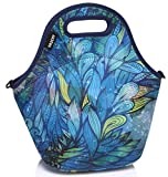 Lunch Tote Women,Vaschy Big Girls' Neoprene Insulated Lunch Container One Size Hand Drawn